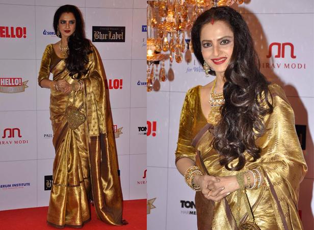 rekha in kanjeevram bridal  silk saree