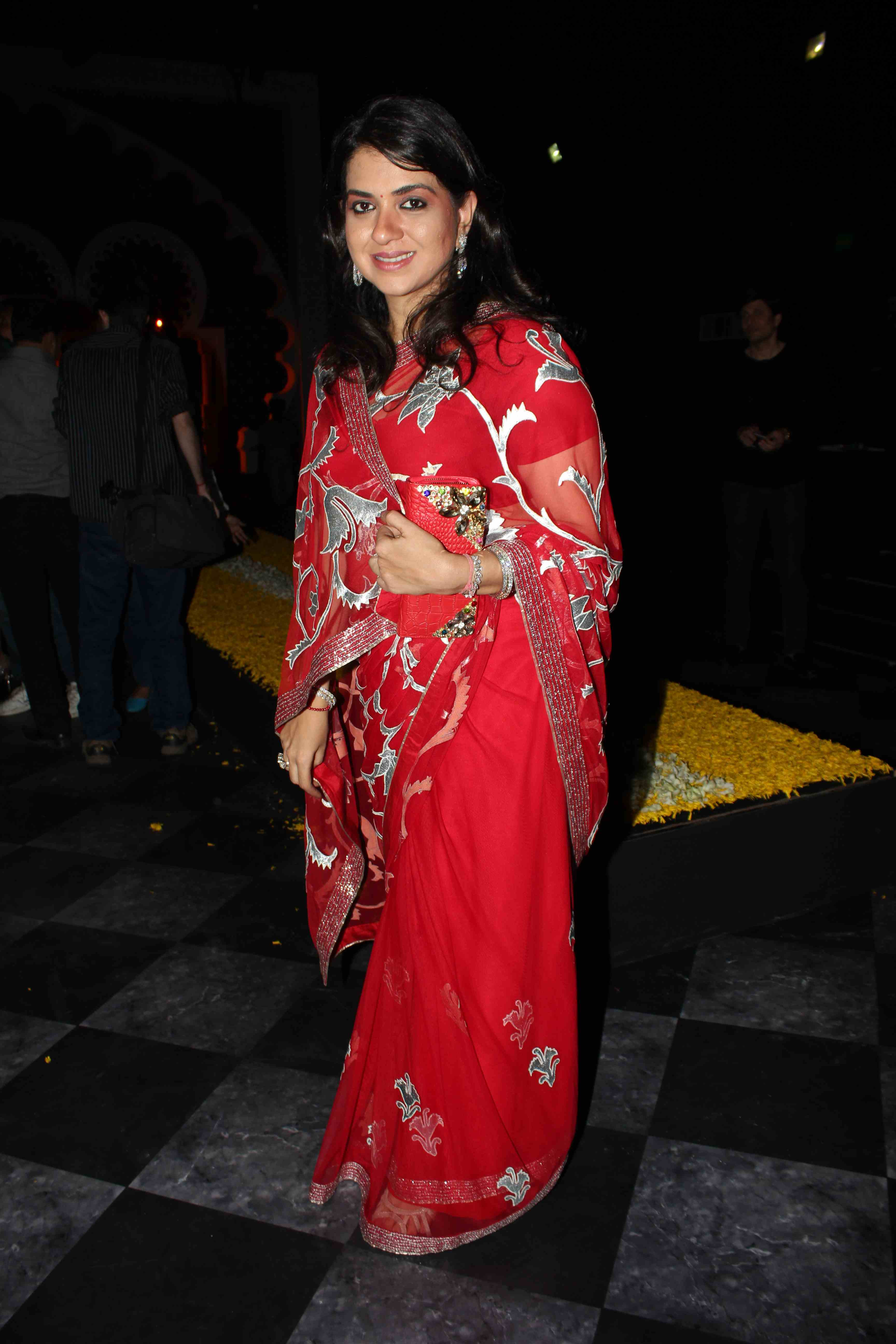 shaina nc in red embroidery saree