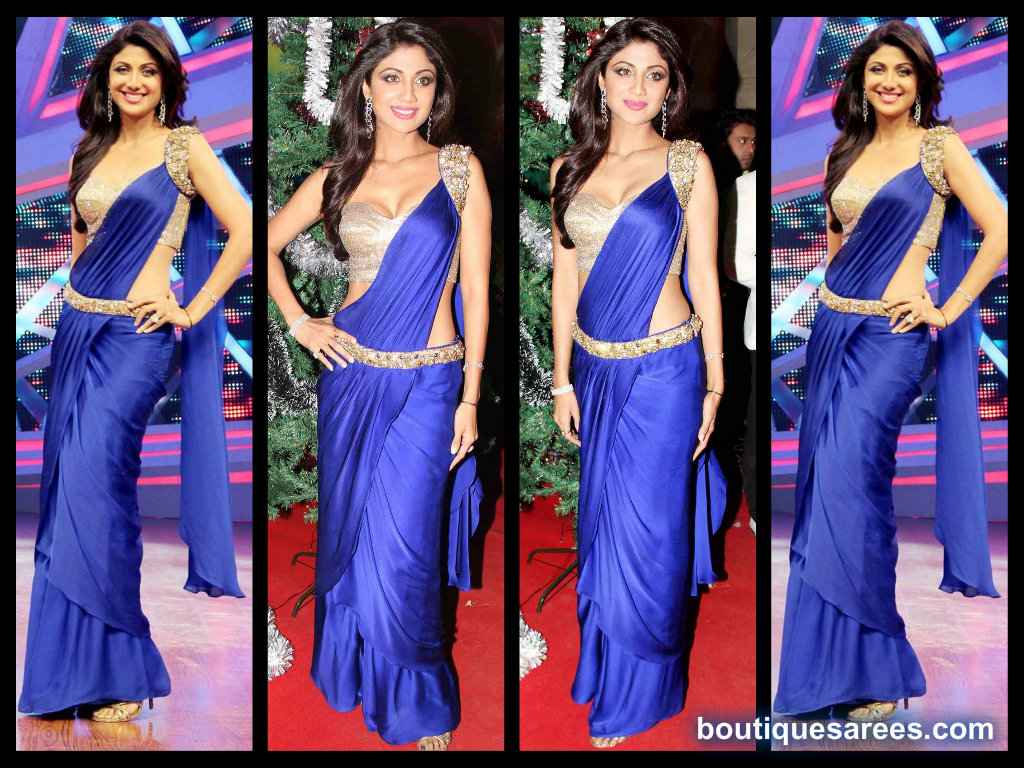 shilpa shetty in blue saree