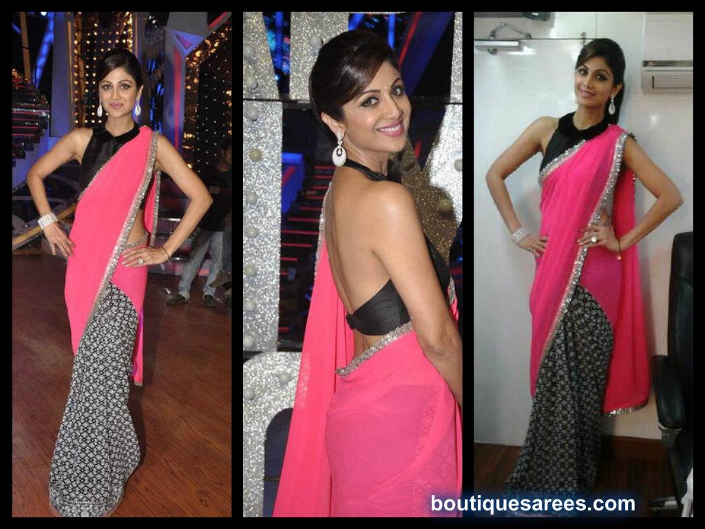 shilpa shetty in manish malhotra saree blouse