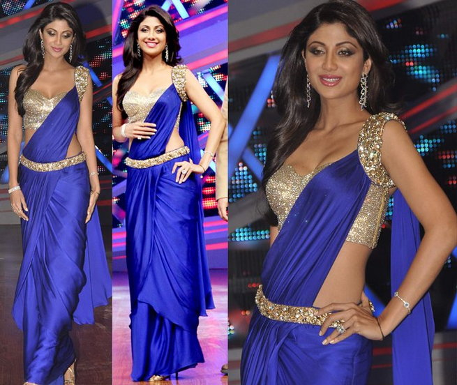 shilpa shetty in plain cocktail saree blouse