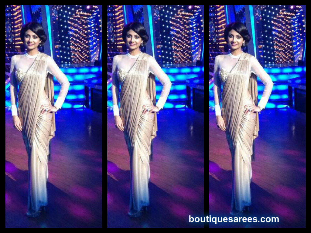 shilpa shetty in shantanu and nikhil saree gown