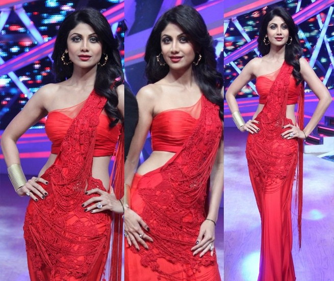 shilpa shetty in sonakshi raj saree