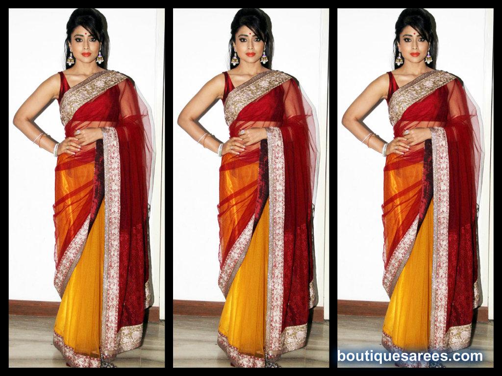shriya saran in mansih malhotra saree blouse