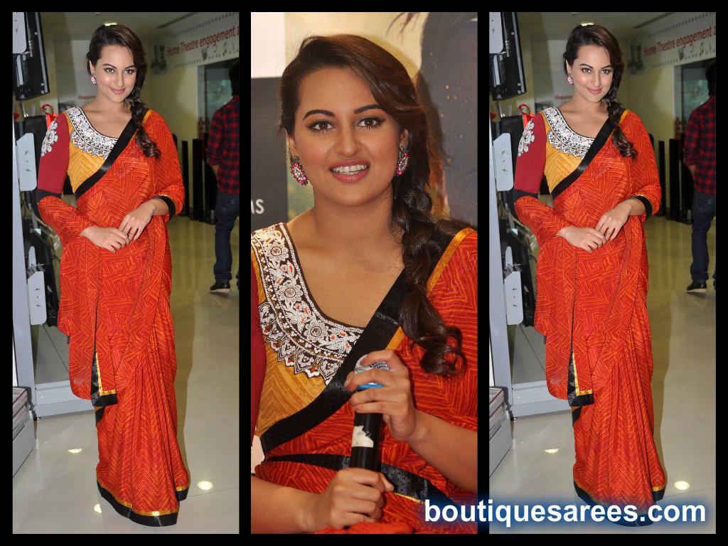 sonakshi sinha in printed saree