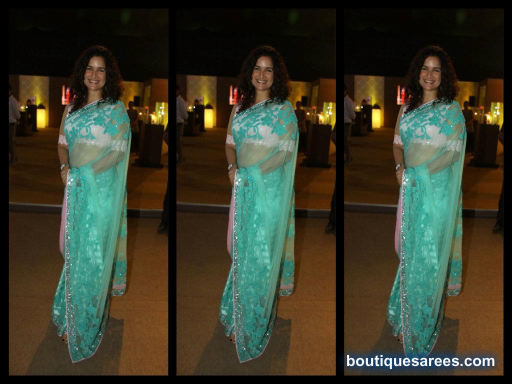 sushma reddy in  blue net saree