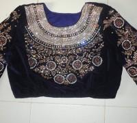 velvet embroidery maharani style blouse