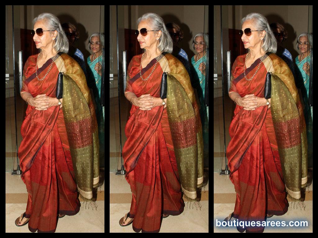 waheeda rehman in silk saree blouse