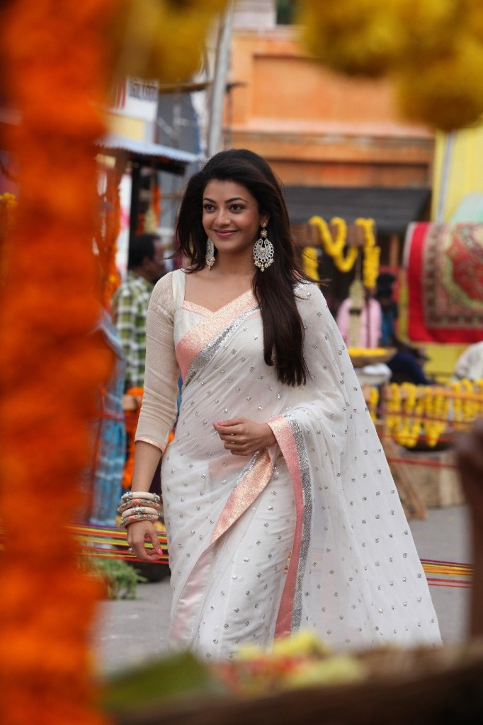 Kajal Aggarwal in white embroidery saree