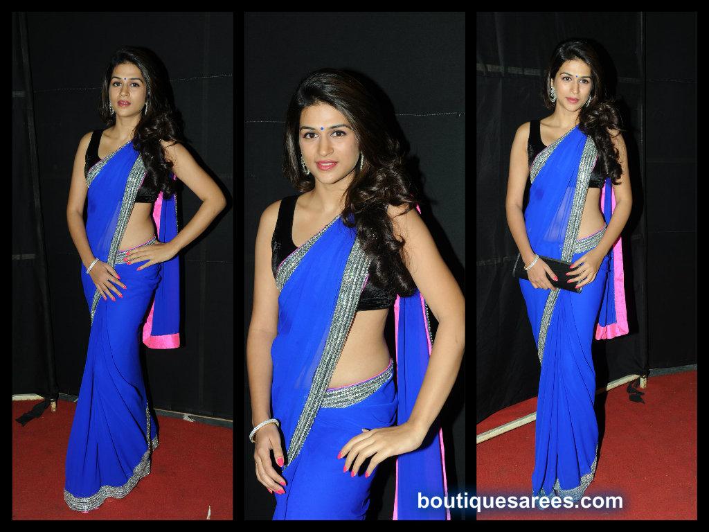 Shradda Das in blue saree blouse