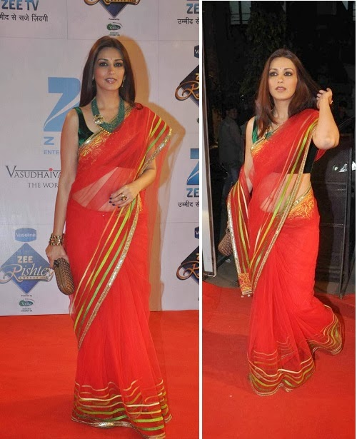 Sonali Bendre in red net saree