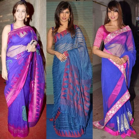 actress in blue silk saree