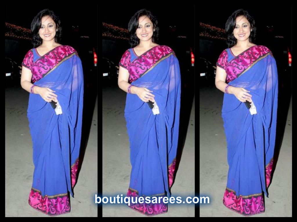 divya dutta in blue saree
