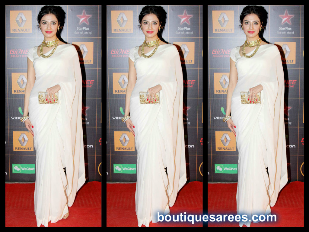 divya khosla kumar in white saree