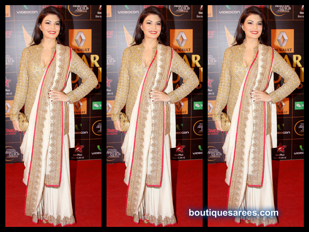 jacqueline in anand kabra saree