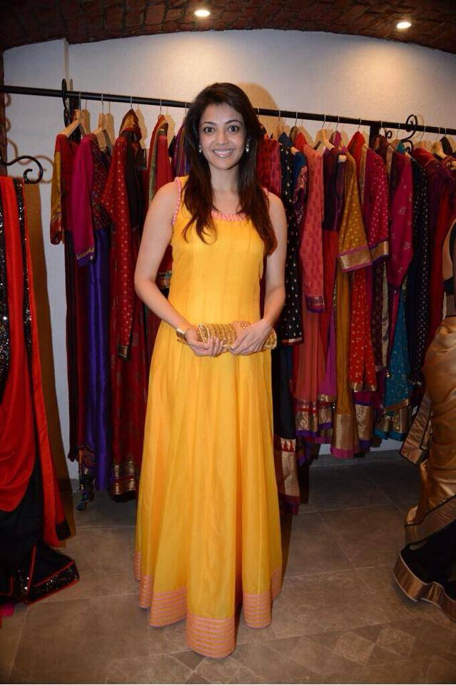 kajal in yellow anarkali