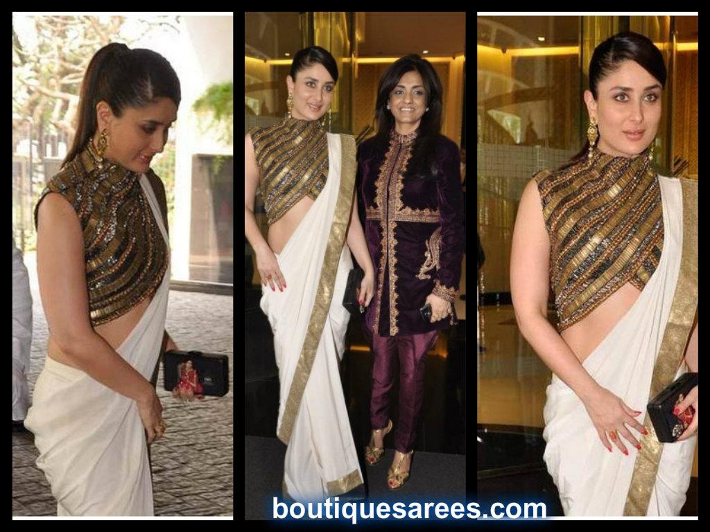 kareena kapoor in anand kabra white saree blouse