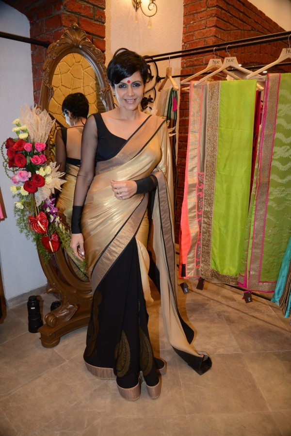 mandira bedi in half and half saree
