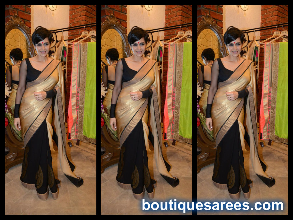 mandira bedi in half and half sari