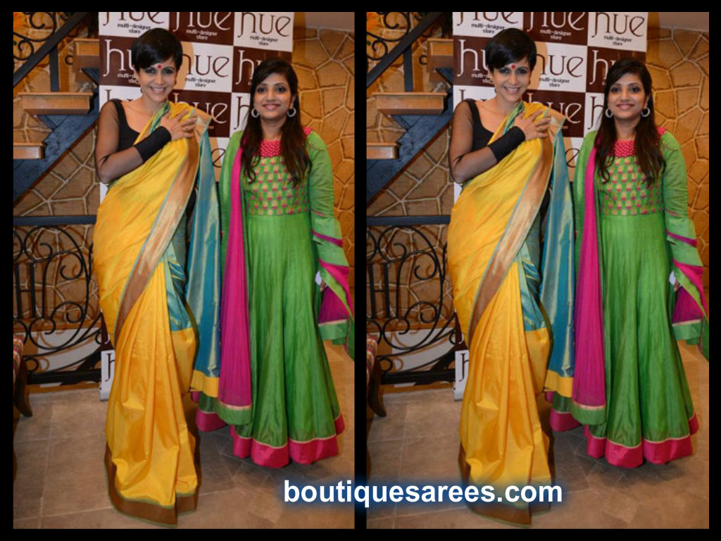 mandira bedi in yellow silk saree