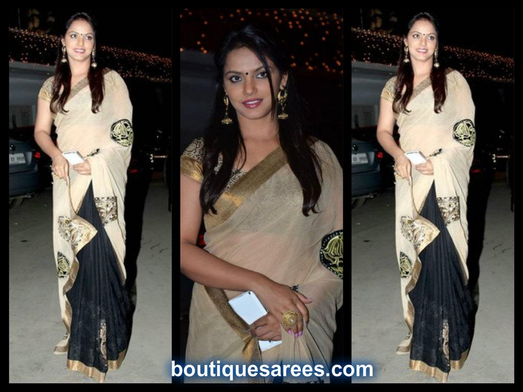 neetu chandra in half and half saree blouse