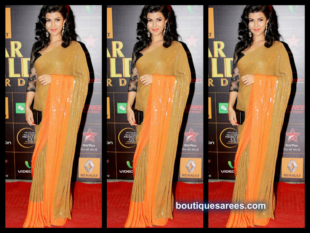 nimrat kaur in mirror work sari