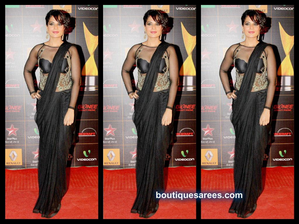 richa chadda in black saree blouse