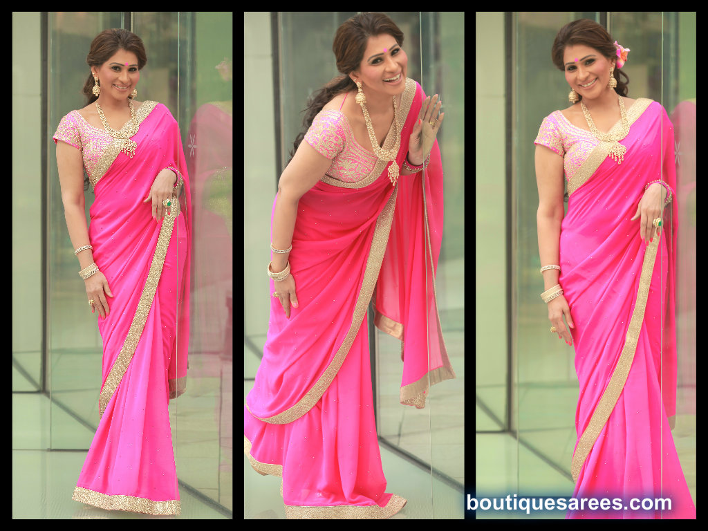 sheerdevi in pink georgette saree blouse