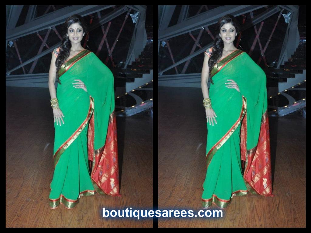 shilpa shetty in green plain saree