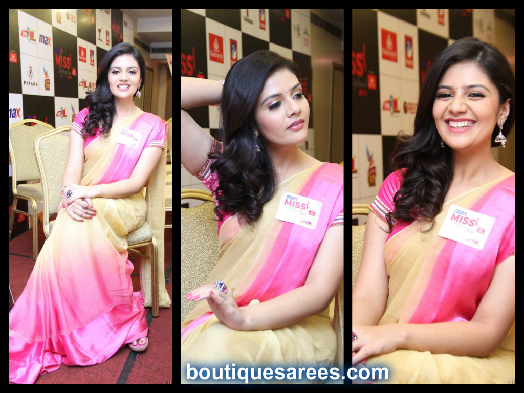 sri mukhi in double shaded chiffon saree blouse