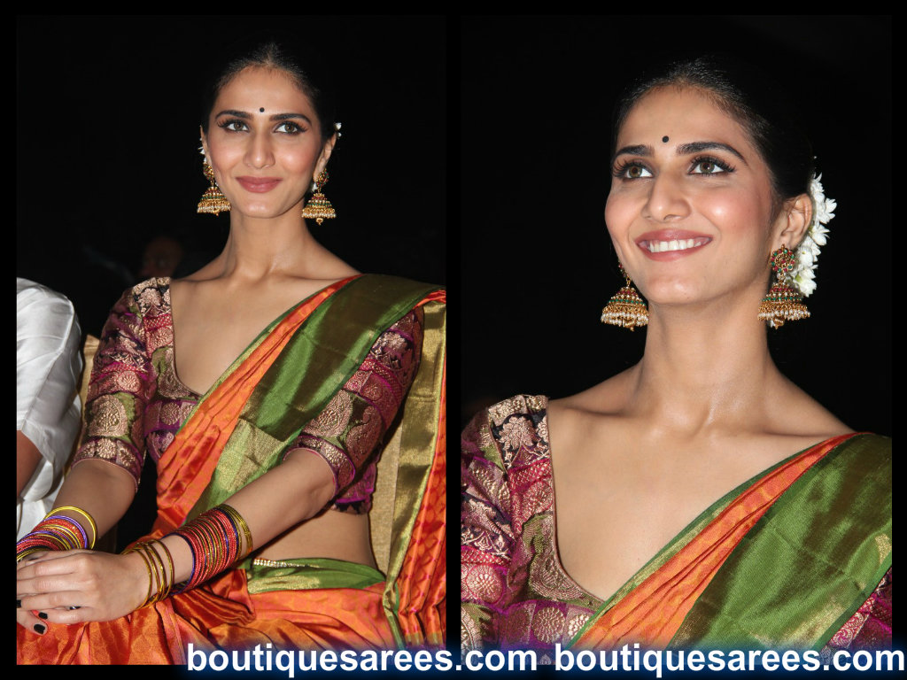vaani kapoor in silk saree blouse