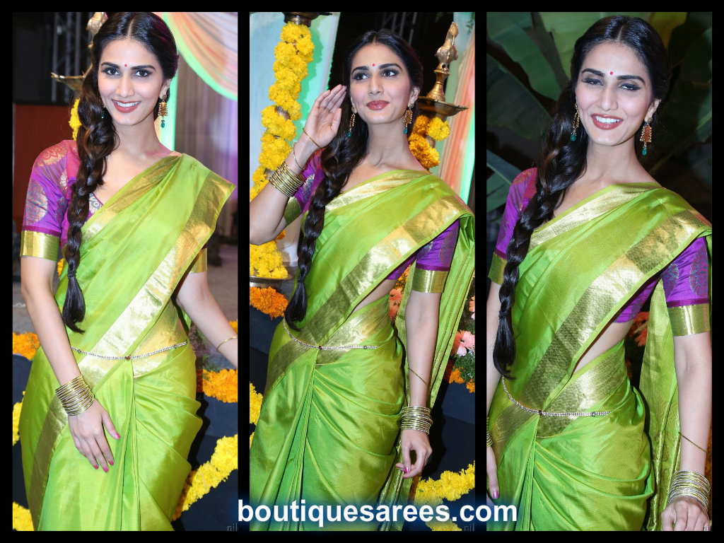 vani kapoor in green silk saree