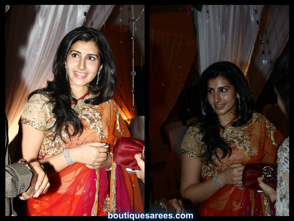 Nara Brahmini in net embroidery saree blouse