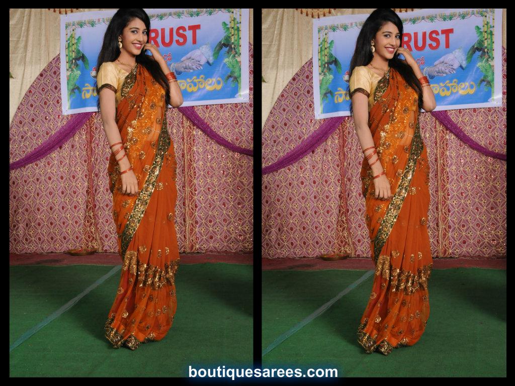 daksha in embroidery net saree
