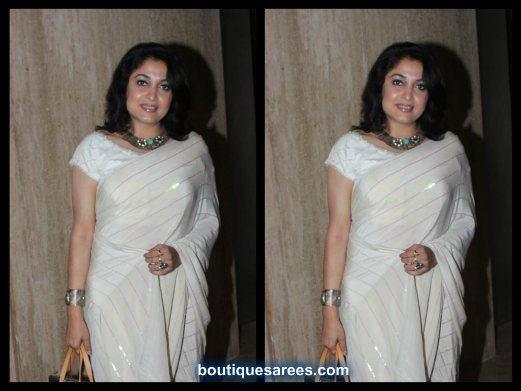ramya krishna in white sari