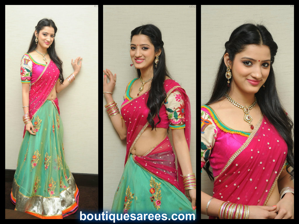 richa-panai-cute-in half saree pics