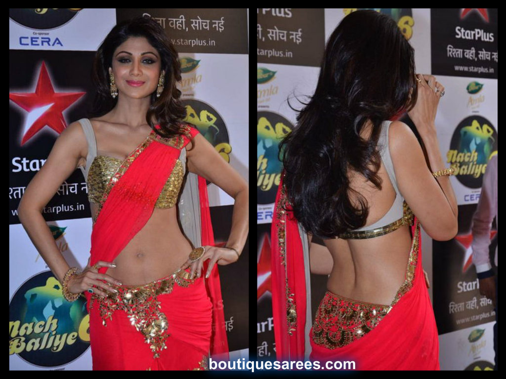 shilpa shetty in mansih malhotra saree blouse