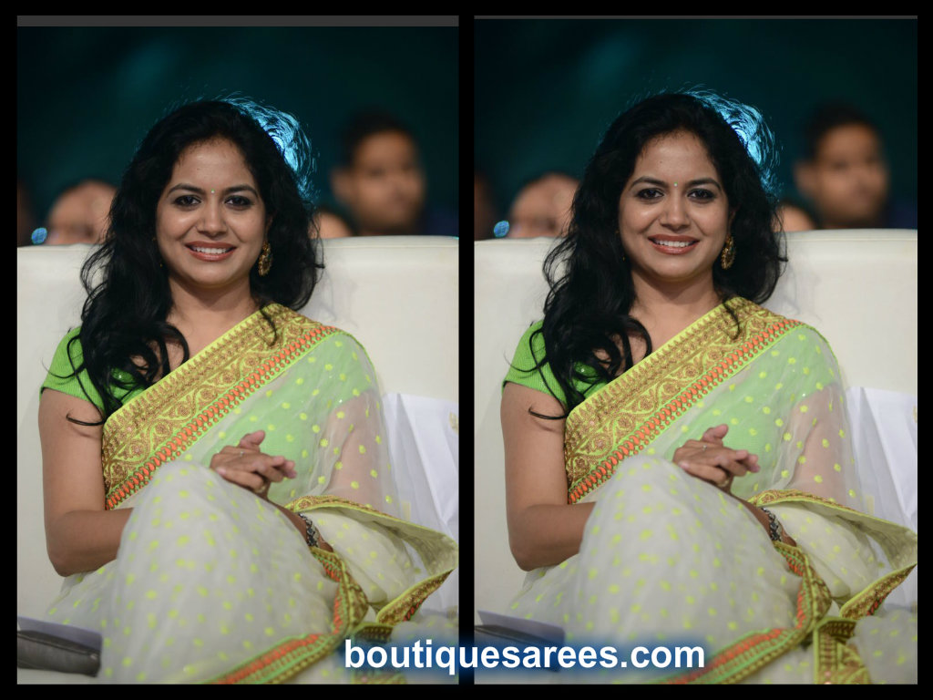 singer sunitha in net saree blouse