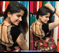 velvet  embroidery work  blouse back design