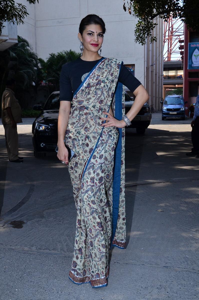 Jacqueline Fernandez in anamika khanna sari blouse