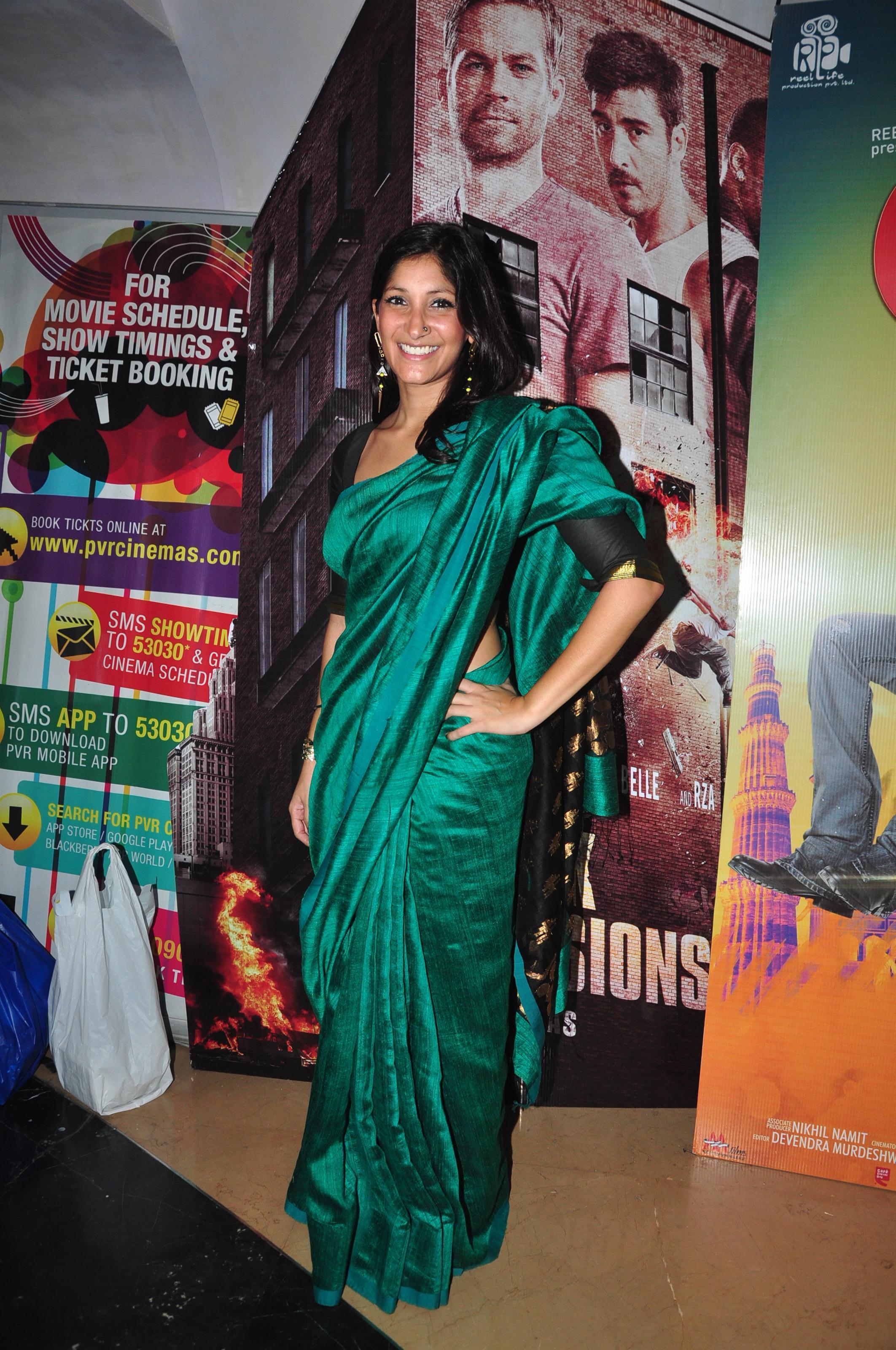 Maya Sarao in blue silk saree