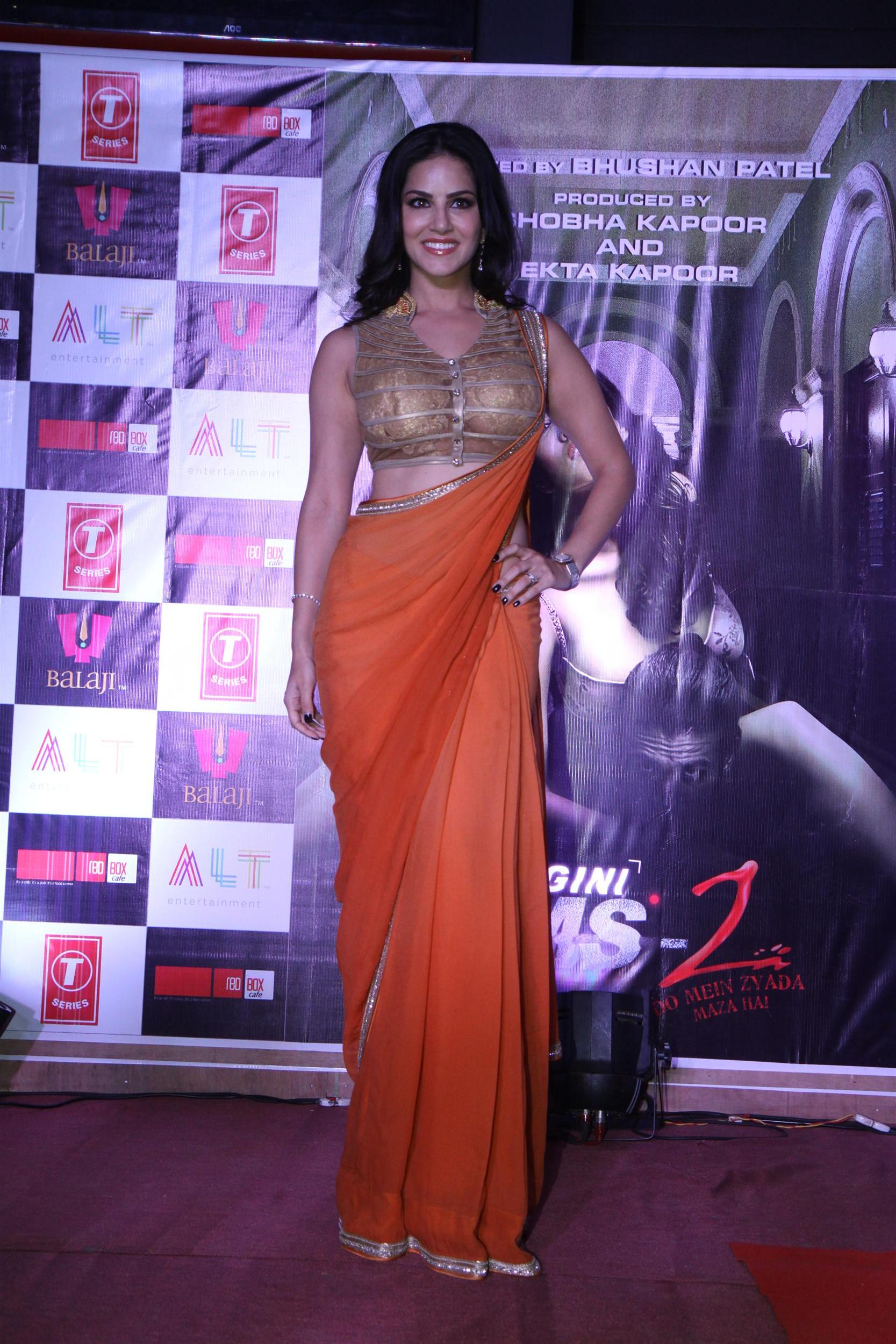 Sunny-Leone in orange saree