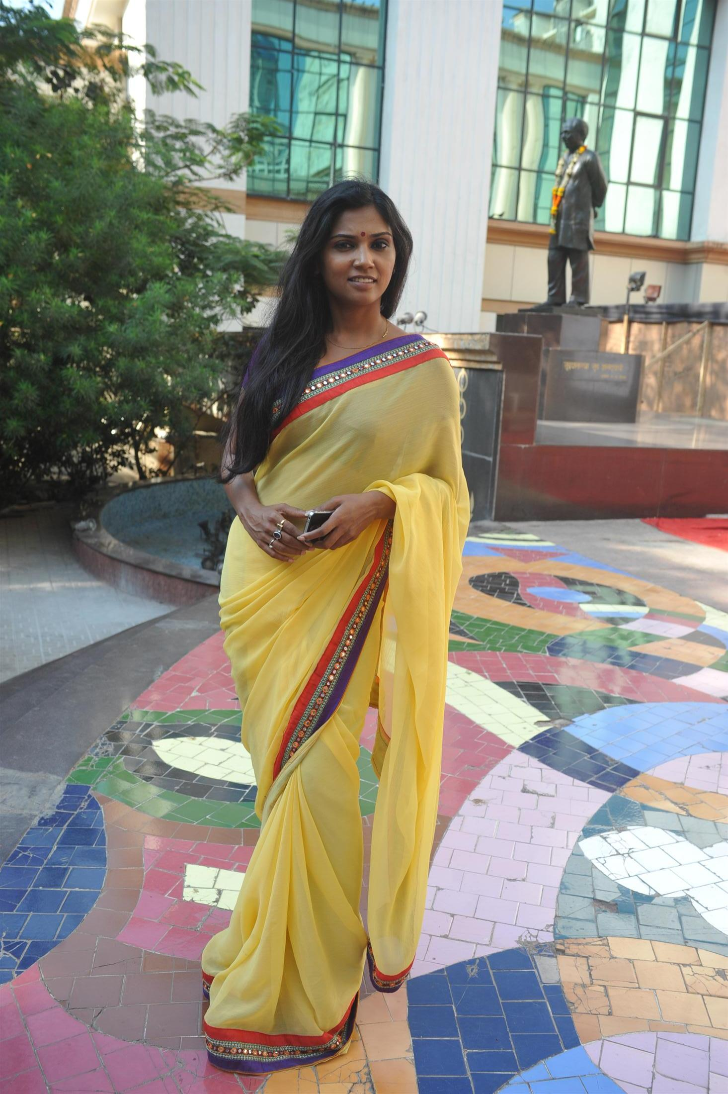 Usha Jadhav in yellow saree