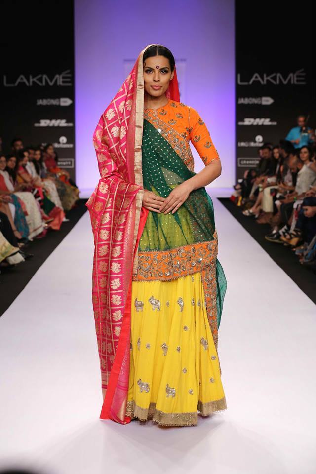 half and half saree by gaurand shah 2014