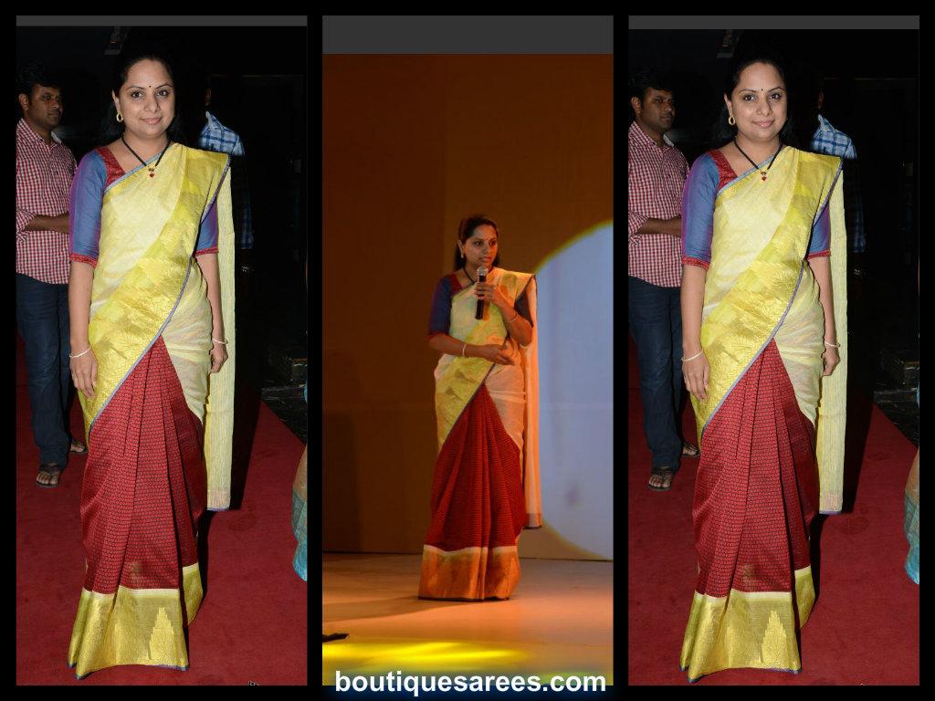 kavitha in half and half saree blouse