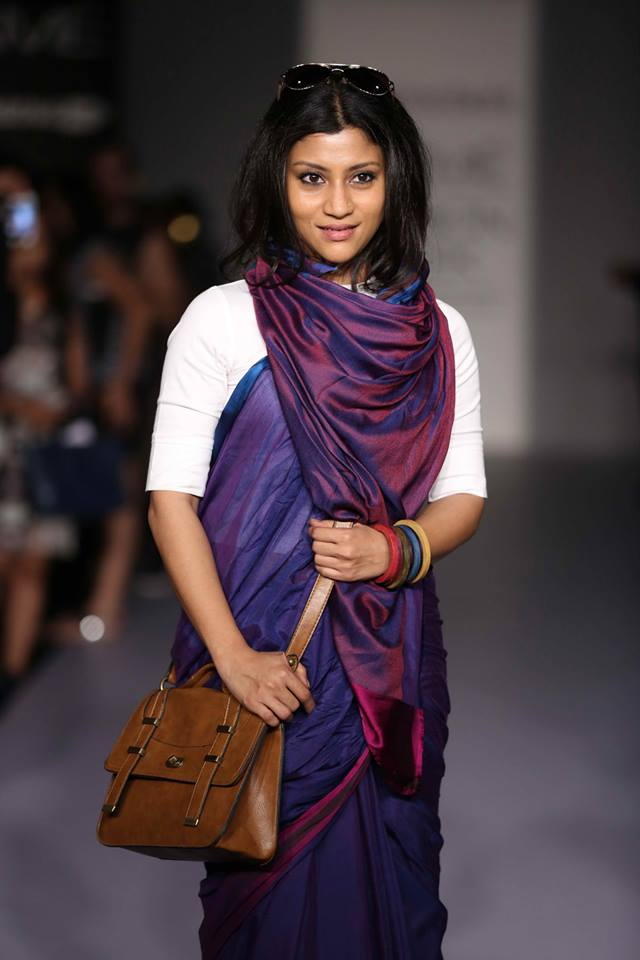 konkana sen sharm in blue silk saree