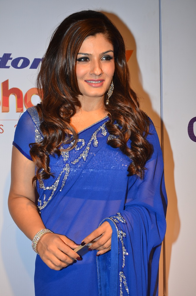 raveena-tondon_in blue sari