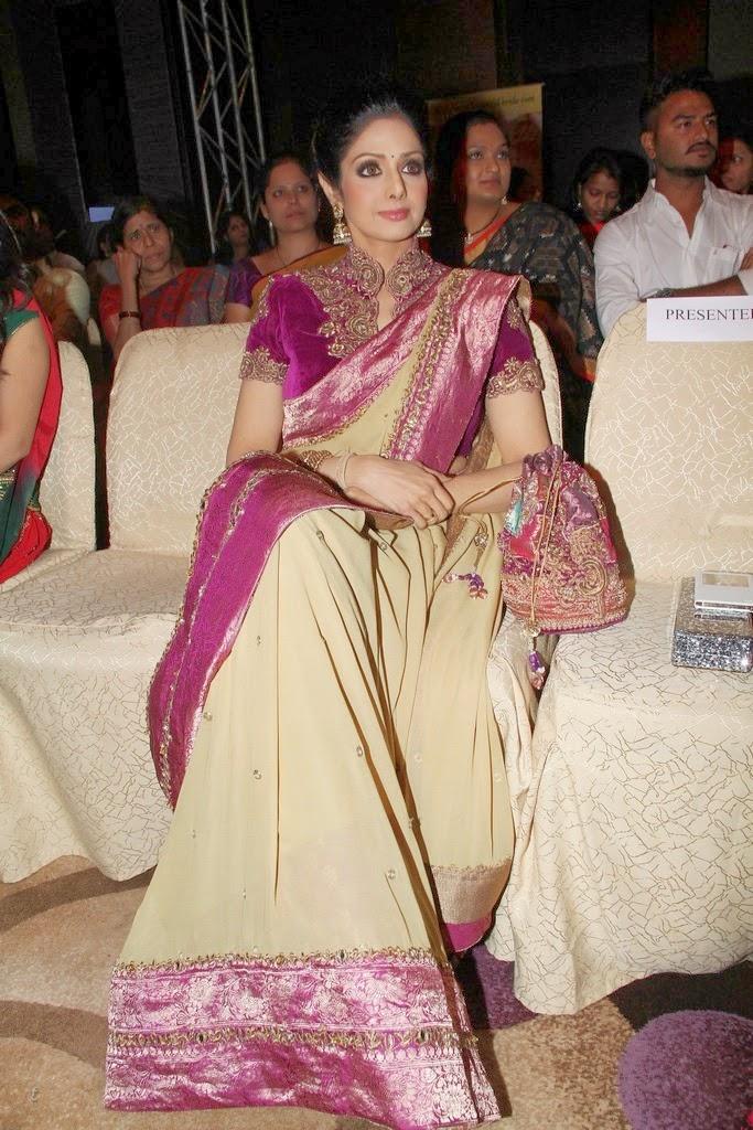 sridevi in heavy embroidery saree