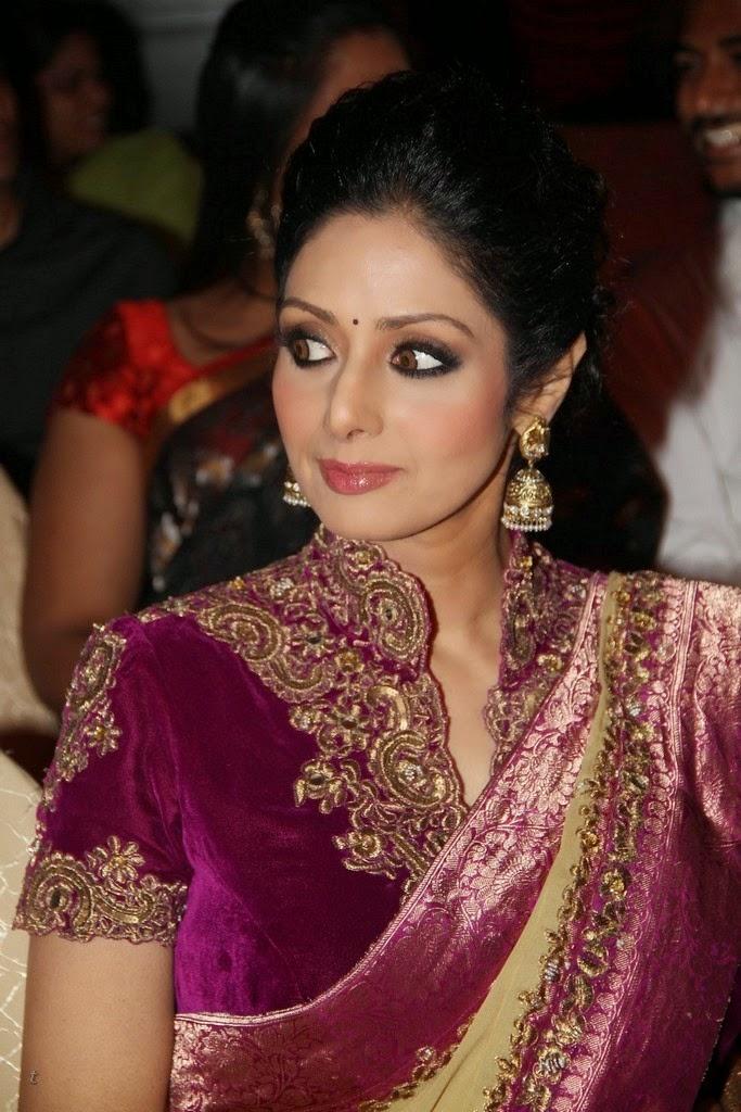 sridevi in heavy embroidery sari