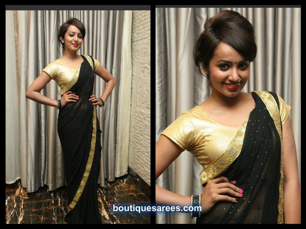 tejaswi madivada in black sari